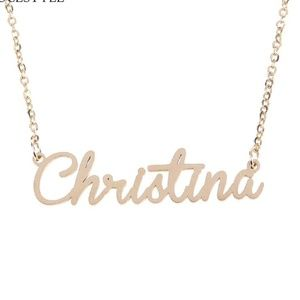 Jewelry - Gold Christina Name Nameplate Necklace B25